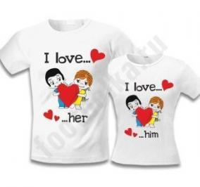 "Парные футболки ""I love him / her"" love is цена от 1 450 руб"